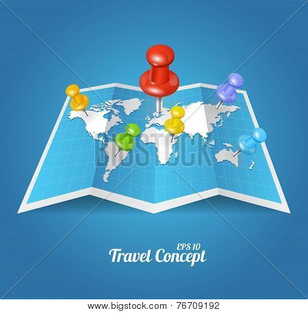 Vectior World Map with color geo location pin pointers poster