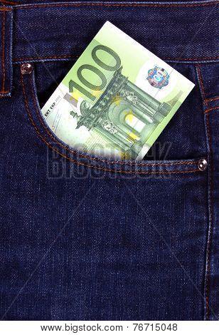100 euro bill in jeans pocket