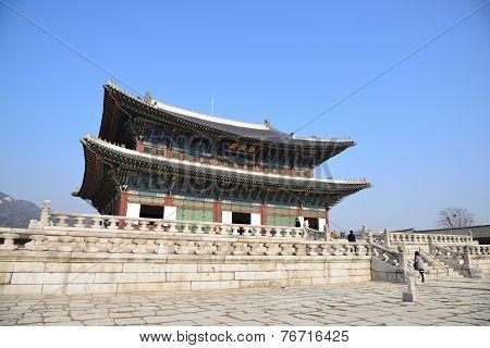 Seoul, Korea - January 06, 2014: Geunjeongjeon In Gyeongbok Palace In Seoul, Korea