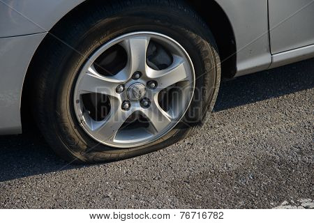 Pocheon, Korea - September 06, 2014: Flat Tire