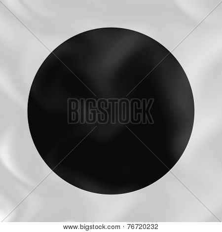 Black Circle On White Silk 3D Abstract Background