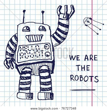 Vector Hand Draw Robot On Exersize Book. Eps10