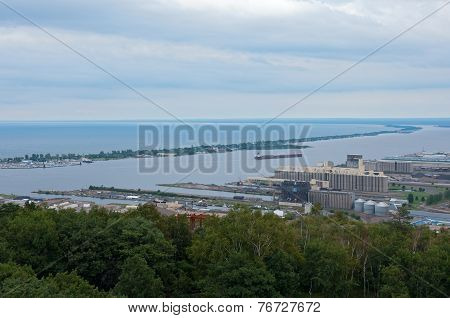 Aerial Of Canal Park And Duluth Harbor