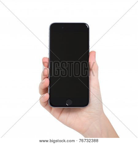 Woman Holding Isolated New Phone Iphone 6 Space Gray
