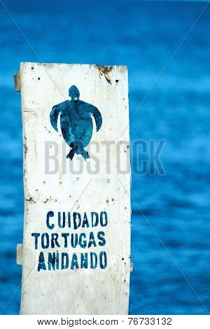 Sign With Spanish Warning To The Care Of Nests Of Sea Turtles On Floreana, Galapagos, Ecuador