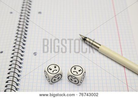 Open Exercise Book With Mood Dice (sad)