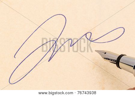 a signature and a fountain pen on yellow paper. photo icon for contract testament and graphology
