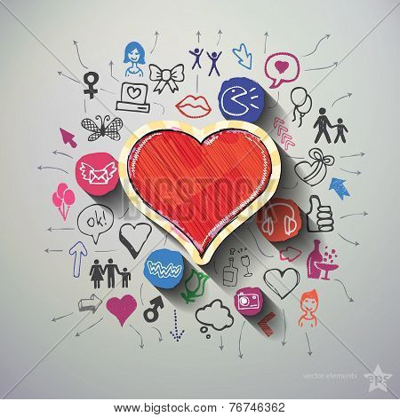 Heart collage with icons background