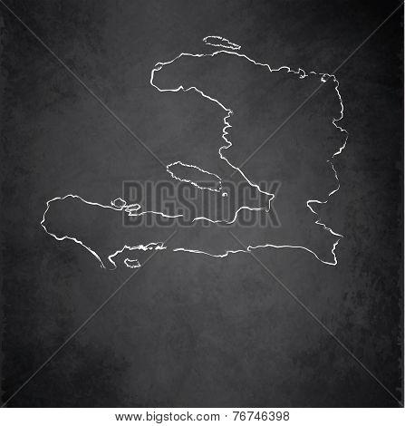 Haiti map blackboard chalkboard raster