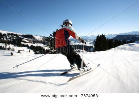 female skier in motion