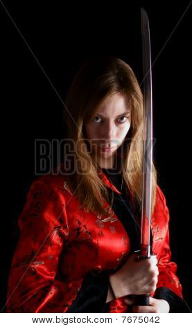 martial arts woman with sword