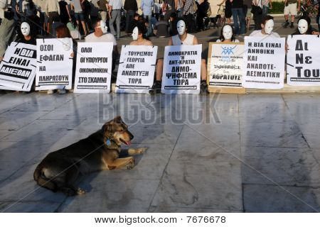 White Mask Sit-in In Athens