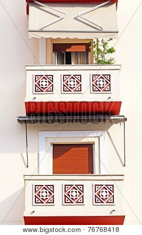 Balcony of apartment houses in Thessaloniki city, Greece poster