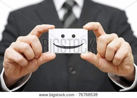 Our Clients Are Happy Clients, Smile On Business Card