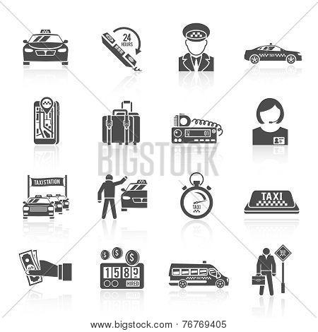 Taxi icons black set
