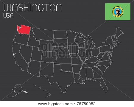 Map Of The The United States Of America With 1 State Selected - Washington
