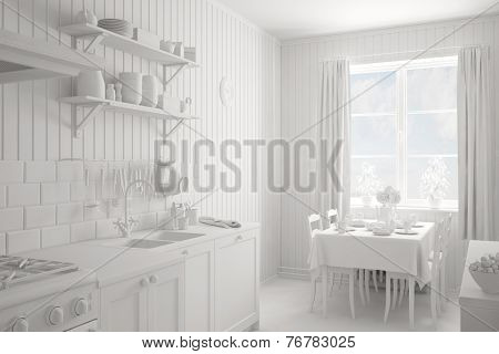 Interior of a completely white kitchen with table and chairs (3D Rendering)