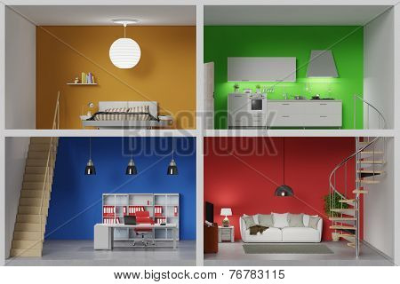 Apartment with four colorful rooms in a living box (3D Rendering)