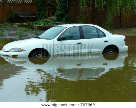 Car stuck in a flood.