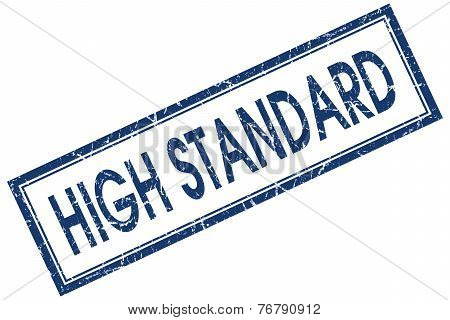 High Standard Blue Square Stamp Isolated On White Background
