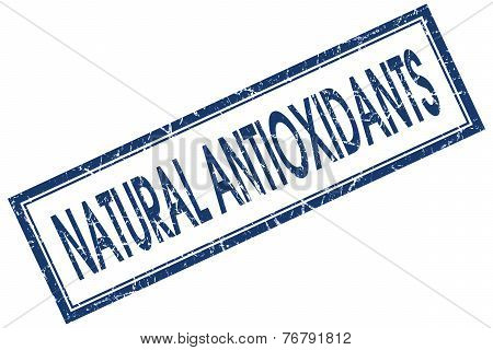 Natural Antioxidants Blue Square Stamp Isolated On White Background