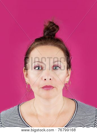 Neutral Face Woman On Pink