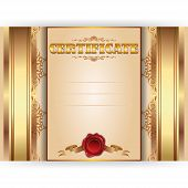 Vector royal gold certificate with lace ornate on beige background poster