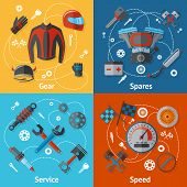 Motorcycle parts flat icon set with gear spares service speed isolated vector illustration poster