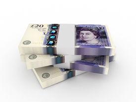 Stack Of 20 Pound Sterling Bills