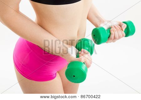 Fitness Girl With Green Dumbbells