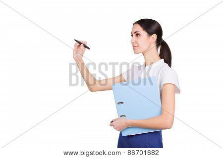 Beautiful Business Woman Writing