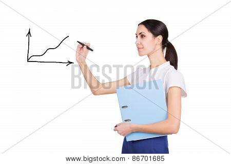 Successful Beautiful Business Woman Writing A Graph