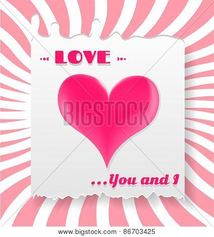 Valentines card with pink heart, text Love, You and I, striped background