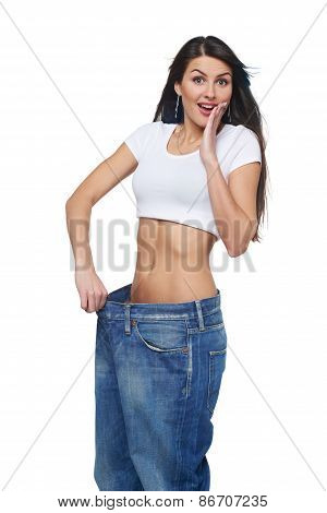 Young woman delighted with her dieting results