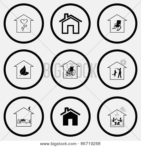 Home set. Black and white set raster icons.