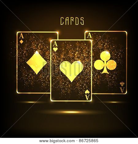 Golden ace cards on shiny brown background for casino concept.