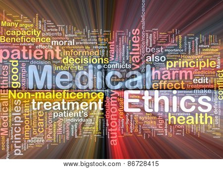 Background concept wordcloud of medical ethics glowing light