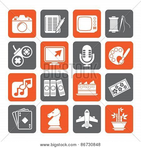 Silhouette Hobbies and leisure Icons - vector icon set poster