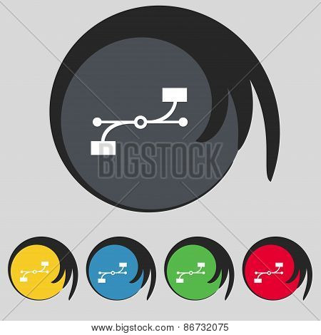 Bezier Curve Icon Sign. Symbol On Five Colored Buttons. Vector
