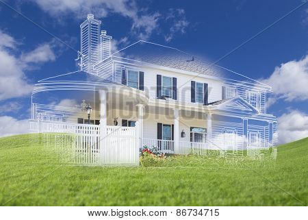 Beautiful Custom House Design Drawing and Ghosted House Appearing Above Green Grass Field.