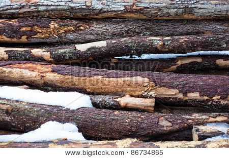 Background Logs With Snow