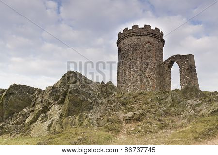 Old John in Bradgate Park Leicestershire England shot from below the hill where he stands poster