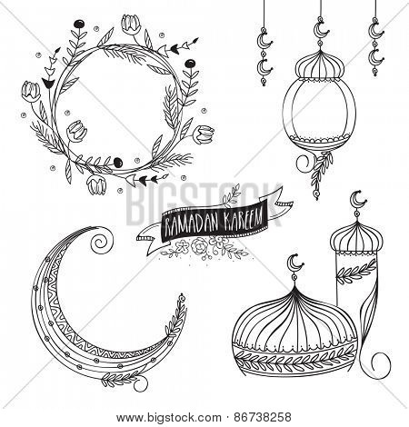 Black and white, Religious design elements, Lantern, Moon and Mosque for the Islamic holy month of prayers, Ramadan Kareem.