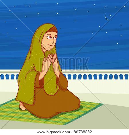 Religious Muslim lady, reading Namaz (Namaz, Muslim prayer) in the night, Concept for Islamic holy month of prayers, Ramadan Kareem.