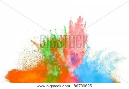 Freeze motion of colored dust explosion isolated on white background poster