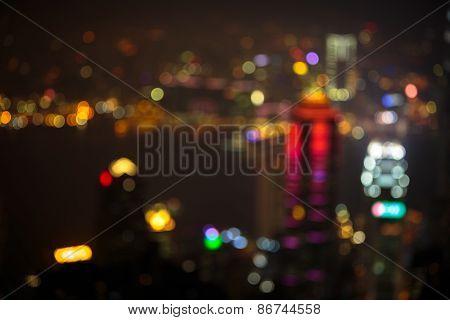 Blurred lighhts from victoria peak hong kong