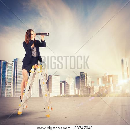 Businesswoman looking for new goals