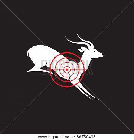 Vector Image Of A Deer Target On A Black Background.