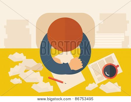 A writer is sitting in front of the table facing downward thinking on what to write with his pen , paper and coffee beside him. Writing and thinking  concept. A contemporary style with pastel palette