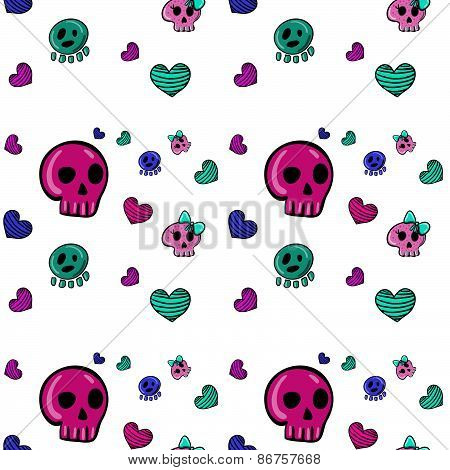 seamless pattern in Emo style with skulls and hearts